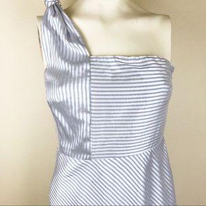 Banana Republic One Shoulder Dress Sz 0 Blue White